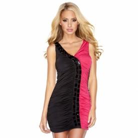 Двуцветное присборенное платье